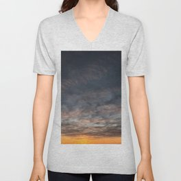 Aesthetic Black Yellow Purple Sky Unisex V-Neck