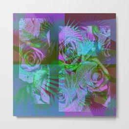 Green & Purple Roses Metal Print