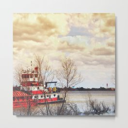 Barge on the Mississippi Metal Print