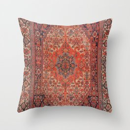 Antique Hamadan 19th Century Authentic Colorful Deep Rich Red Redish Vintage Patterns Throw Pillow