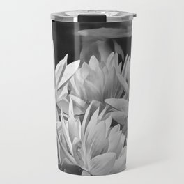 Water Lily in Black and White Travel Mug
