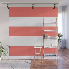 Thick Bold Living Coral and White Stripes Pattern Wall Mural