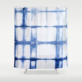 Shibori Blue - Rectangles Shower Curtain