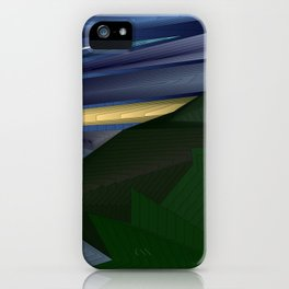 Strange psychedelic landscap with stylised mountains, sea and yellow Sun. iPhone Case