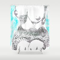 boob Shower Curtains featuring Feme I by Tamara Arroba