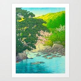 Vintage Japanese Woodblock Print Beautiful Water Creek Grey Rocks Green Trees Art Print