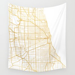 CHICAGO ILLINOIS CITY STREET MAP ART Wall Tapestry