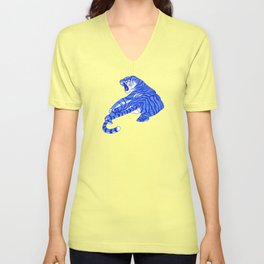 Neon Tigers and Water Lillies. Unisex V-Neck