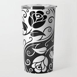 Black and White Yin Yang Roses Travel Mug