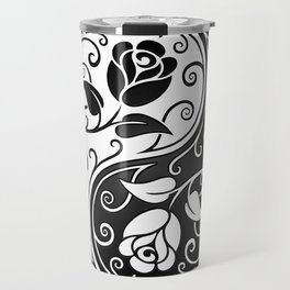 Black and White Yin Yang Roses Travel Mug