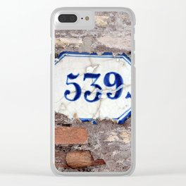 Number 539 on brick wall Clear iPhone Case