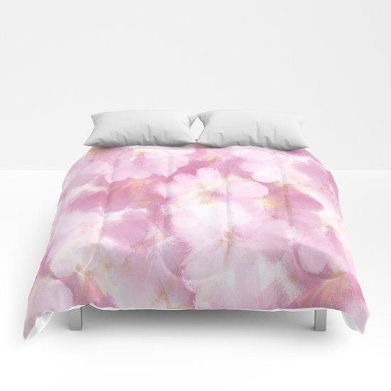Painted Flowers Abstract Comforters