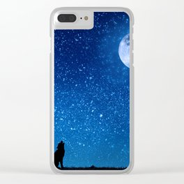 Wolf Howling at the Moon Before the Stars Clear iPhone Case