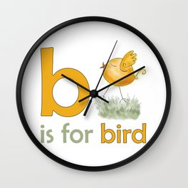 b is for bird,  children alphabet for kids room and nursery Wall Clock