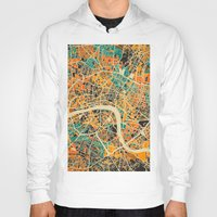 london map Hoodies featuring London Mosaic Map #3 by Map Map Maps