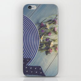 Female hat, striped, bouquet of wildflowers, top view. iPhone Skin