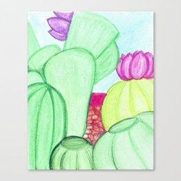 Water Color Cacti Garden Canvas Print