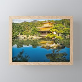 The Golden Pavilion Garden Landscape in Kyoto, Japan. Framed Mini Art Print