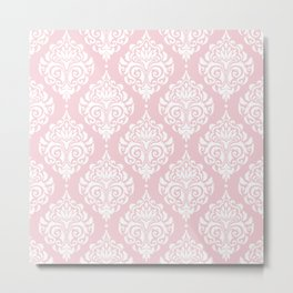 Pink Damask Metal Print