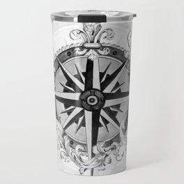Black and White Scrolling Compass Rose Travel Mug