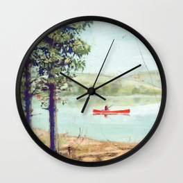fishing - by phil art guy Wall Clock