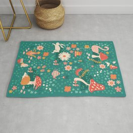 Wandering in Wonderland - Teal Rug