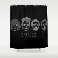 bastille Shower Curtains featuring Bastille Skulls by wellsi