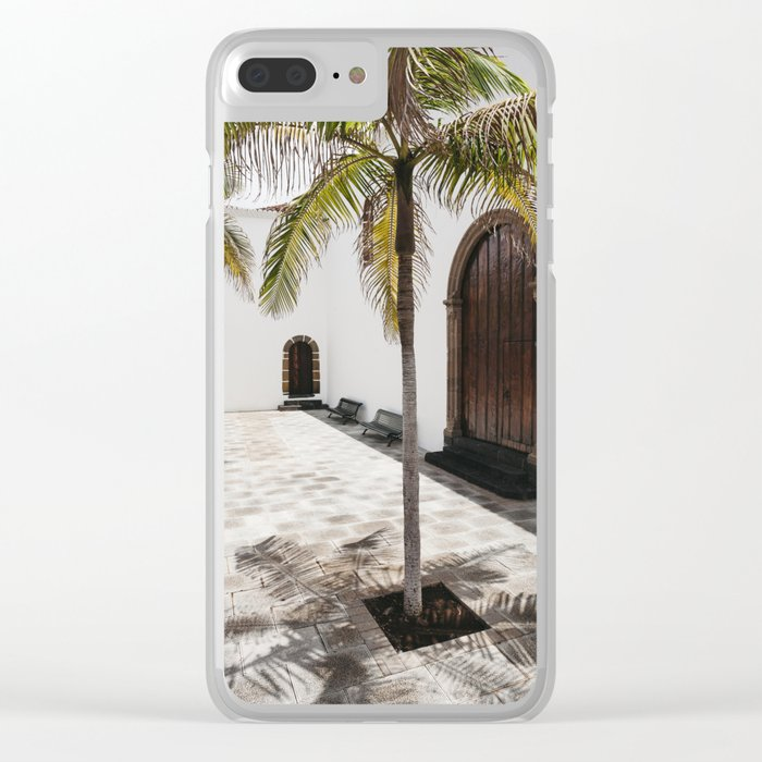 Palm tree growing in the street. La Palma, Canary Island. Clear iPhone Case