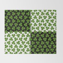Green Shamrocks Pattern on Black and White Throw Blanket