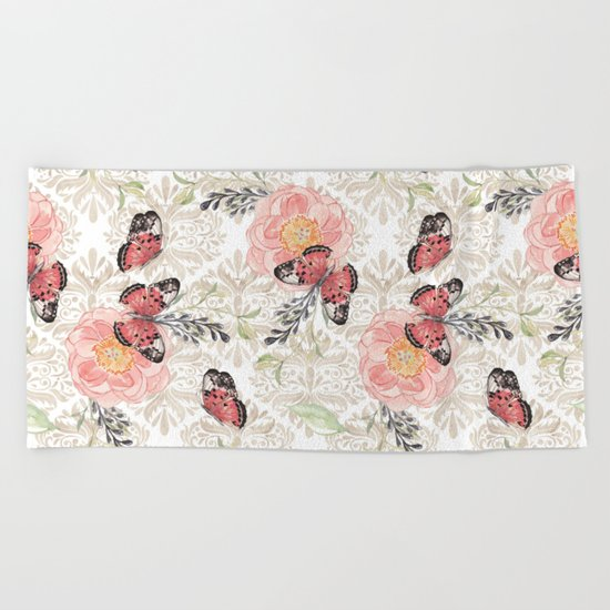 Flowers & butterflies #2 Beach Towel