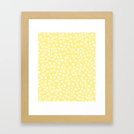Pastel yellow and white doodle dots Framed Art Print