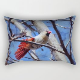Female Cardinal Flirting Rectangular Pillow