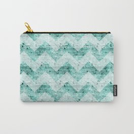 Teal Wood Chevron  Carry-All Pouch