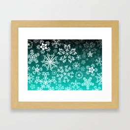 Symbols in Snowflakes on Winter Green Framed Art Print