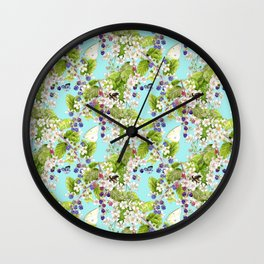 Blackberries and Butterflies Wall Clock