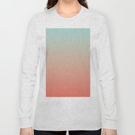 Ombre Living Coral with Turquoise Long Sleeve T-shirt