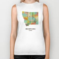 montana Biker Tanks featuring Montana state map modern by bri.buckley