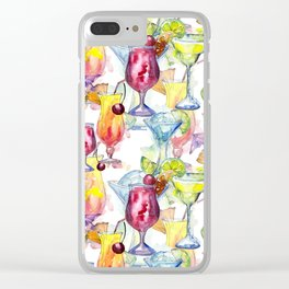 Tropical Watercolor Cocktails Clear iPhone Case
