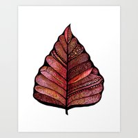 decal Art Prints featuring Modern leaf art | green leaves wall decal | botanical leaf decor | botanical leaves | leaf & plant by WestridgeART