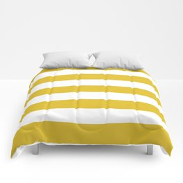 Durian Yellow - solid color - white stripes pattern Comforters