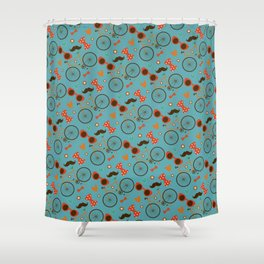 Colorful Hipster Elements Pattern on teal Shower Curtain