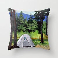 camp Throw Pillows featuring Camp by Kira Yustak
