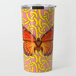 Teal Color Orange Monarch Butterflies Celtic Coral Art Travel Mug