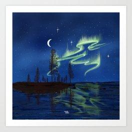 Northern lights reflection - Lapland8seasons Art Print