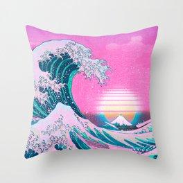 Vaporwave Aesthetic Great Wave Off Kanagawa Throw Pillow