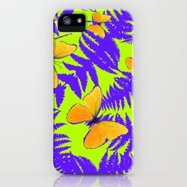 Golden Butterflies Purple Fern Fronds Chartreuse Color Art iPhone Case
