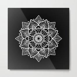 White Mandala On Black Metal Print