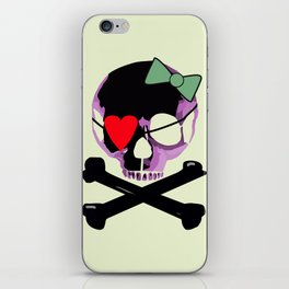 Pink Skull with heart and bow iPhone Skin