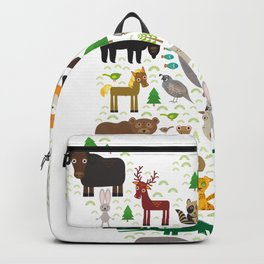 Map of North America with Animals bison bat manatee fox elk horse wolf partridge seal Polar bear Backpack