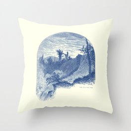 Lower Falls, Ticonderoga (cyan) Throw Pillow